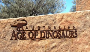 Australian Age of Dinosaus sign at the Dinosaur museum and laboratory