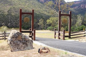 Gates by the road side announce the Wolgan Valley Resort & Spa.