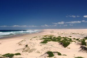 A closer view of the vast sand deposits of Stockton Beach