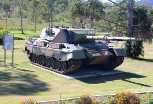 Leopard tank in Mount Perry main street