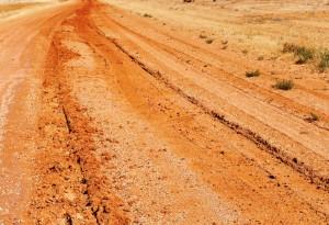 Wheel tracks from recent rain