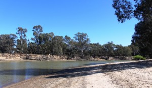 Hay's swimming beach on the Murrumbidgee River.