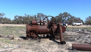 A steam traction engine lays where it was last used, about 80 years ago