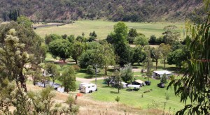 Wonnangatta Caravan Park viewed from the road above.