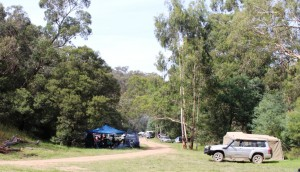 Campers in a free Perks Victoria camp site. I excluded the long drop loo from the photo.