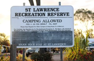 St Lawrence offers free camping to travelers - a donation is requested