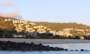 Units on the hill at Airlie Beach in the morning sunlight