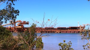 A bulk carrier loading at the Weipa wharf