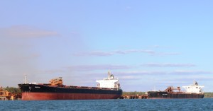 A bauxite bulk carrier destined for a foreign port
