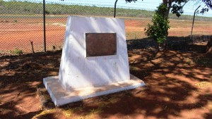 The Jacky Jacky memorial is placed in a corner of the car park at the airport.