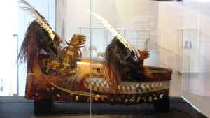 Island ceremonial masks on display in the new cultural centre
