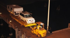 Our car and van being positioned for lifting on board