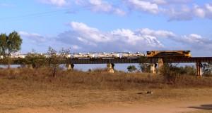 Fertiliser train approaching the main bridge