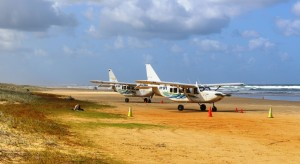 Aircraft parked near The Pinnacles