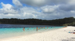 Bathers at Lake McKenzie