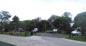 Free campers set up for the night at Gympie