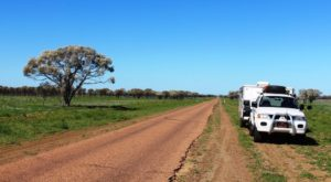 The road between Isisford and Ilfracombe is not as wide as that traveled the previous day