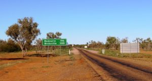 The sign at Boulia for the turn South