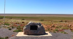 The official marker for the Vaughan Johnson Lookout overlooks Diaimantina flood plains