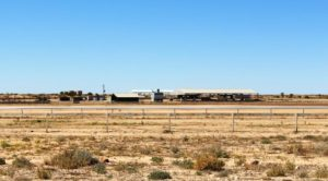 The Birdsville Racecourse from the highway into town