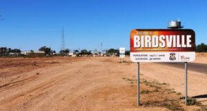 This is the sign that welcomes you to Birdsville. We photographed it on the way out