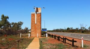The memorial to Rev. John Flynn beside the Stuart Highway at Three Ways north of Tennant Creek