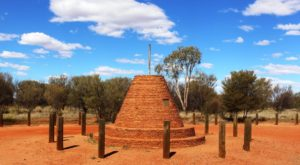 The cairn marking the highest point on the Stuart Highway north of Alice Springs