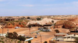 Underground hotels in the main street of Coober Pedy