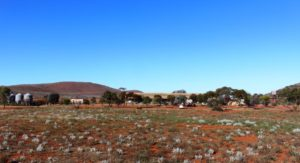 View towards the shearers quarters and part of the caravan park area. Mount Ive is in the background.