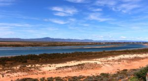 The cliff top view of the northern extremity of Spencer Gulf and the lower Flinders Ranges