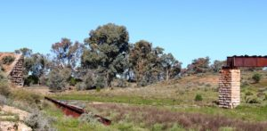 Flood damaged bridge on the old Ghan railway.