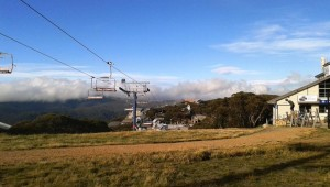A chair lift passes right by houses at Mt Bulla