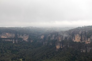 Katoomba in the mist from Sublime Point.