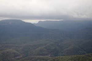 Clouds remained at mountain top level all day.