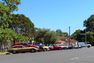Cars in the visiting classic car club