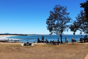 Looking across Forster Beach