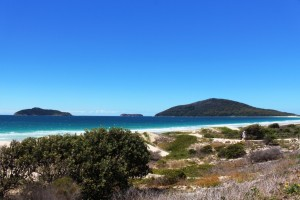 The north headland of Port Stephens and off lying islands. The large island is Broughton Island