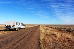 Our rig beside the long road