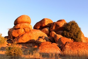 """Piles of """"marbles"""" lit by the setting sun"""