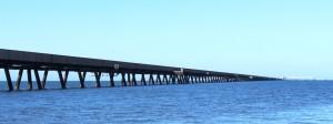 The six kilometre jetty seems to almost reach the horizon