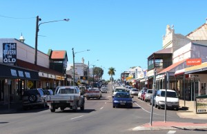 One of the main streets lined with historic buildings