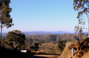 The view towards Gladstone from the top of the range