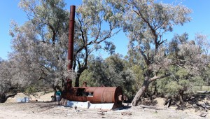 The steam boiler on the river bank