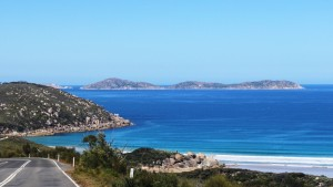 The stunning Glennie Island group come into view as the road returns to the coast not far from Tidal River.