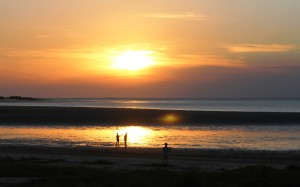Sunset over the beach at Weipa Caravan Park