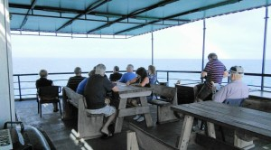 Passengers on the open deck