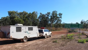 Parked at the start of the Bamaga Road which follows the route of the Old Telegraph Track