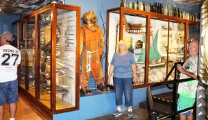 Ruth checking the size of a diving suit