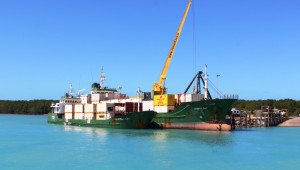 Trinity Bay unloading containers at Horn Island