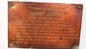 The wording on the Jacky Jacky memorial